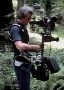 Steadicam inventor Garrett Brown acquires plates for the speeder bike chase.
