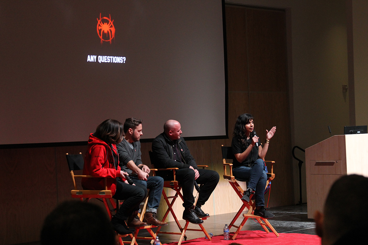 From right, Imageworks crew members Geeta Basantani, Joshua Beveridge and Humberto Rosa, with moderator Sue Rowe, discuss 'Into the Spider-Verse' at SPARKFX 2019.