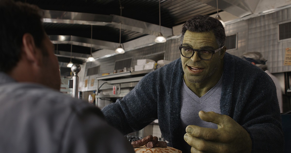 Hulk talks to other members of the Avengers in this ILM fram