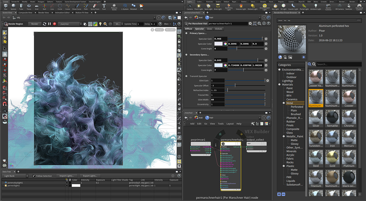 interactive rendering in the render region