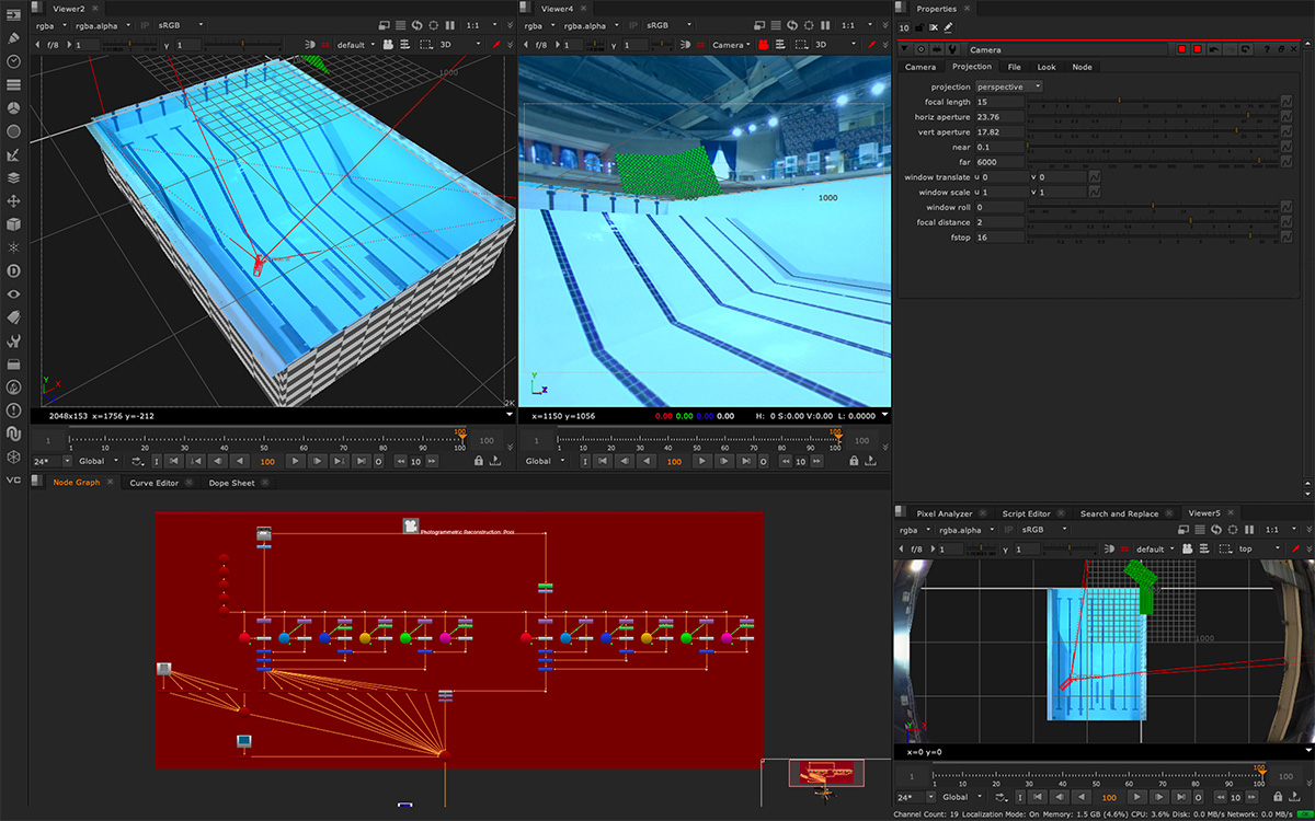 The swimming pool set as staged in NUKE