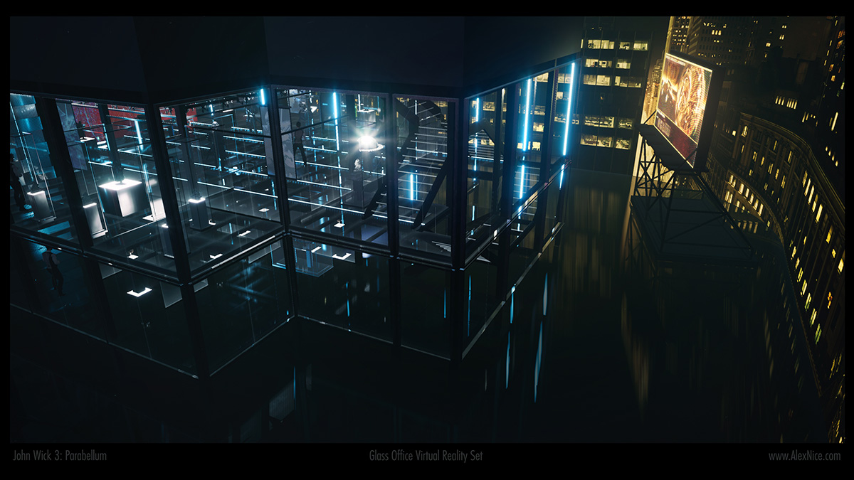 A wider view of the virtual glass set