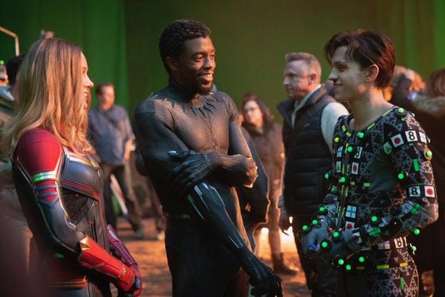 Captain marvel, spider-man, black panther in Avengers: Endgame