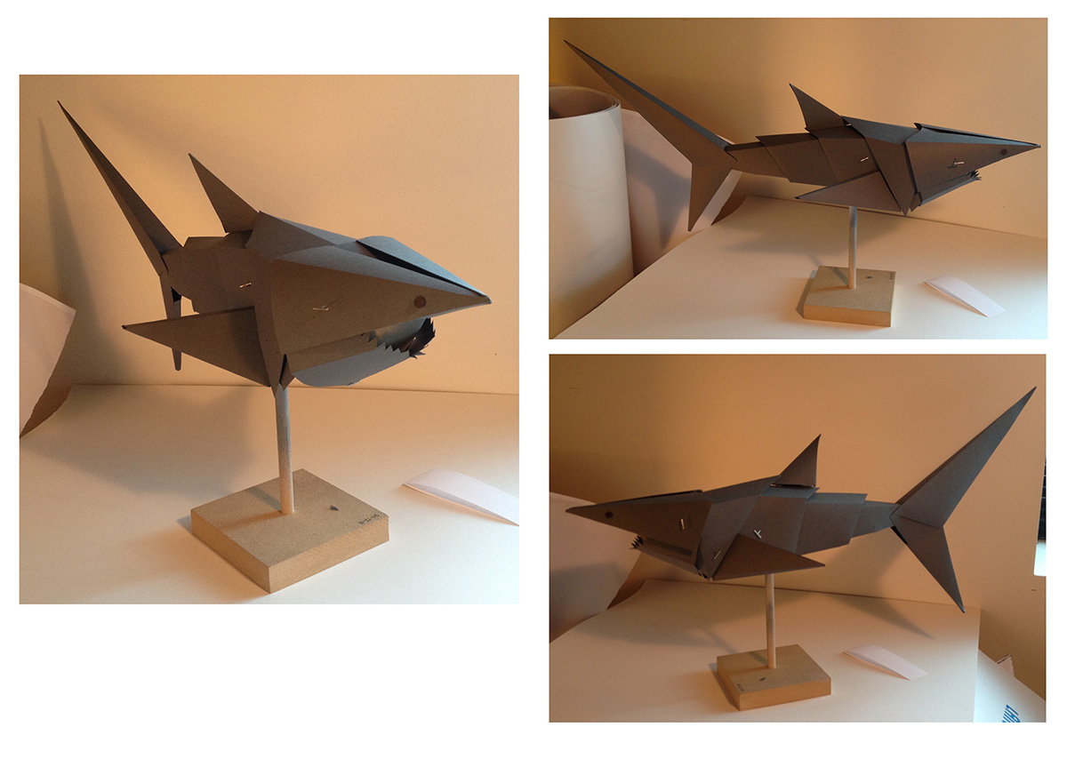 Final paper shark before puppet fabrication