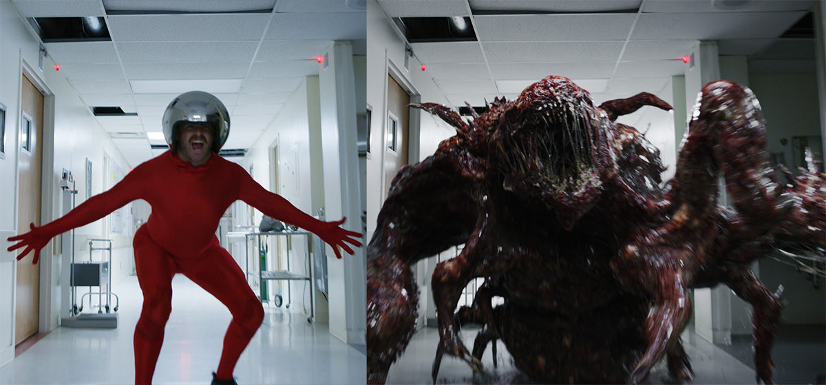 Stranger Things 3's Mind Flayer was played by a stuntman in red spandex and a shiny helmet