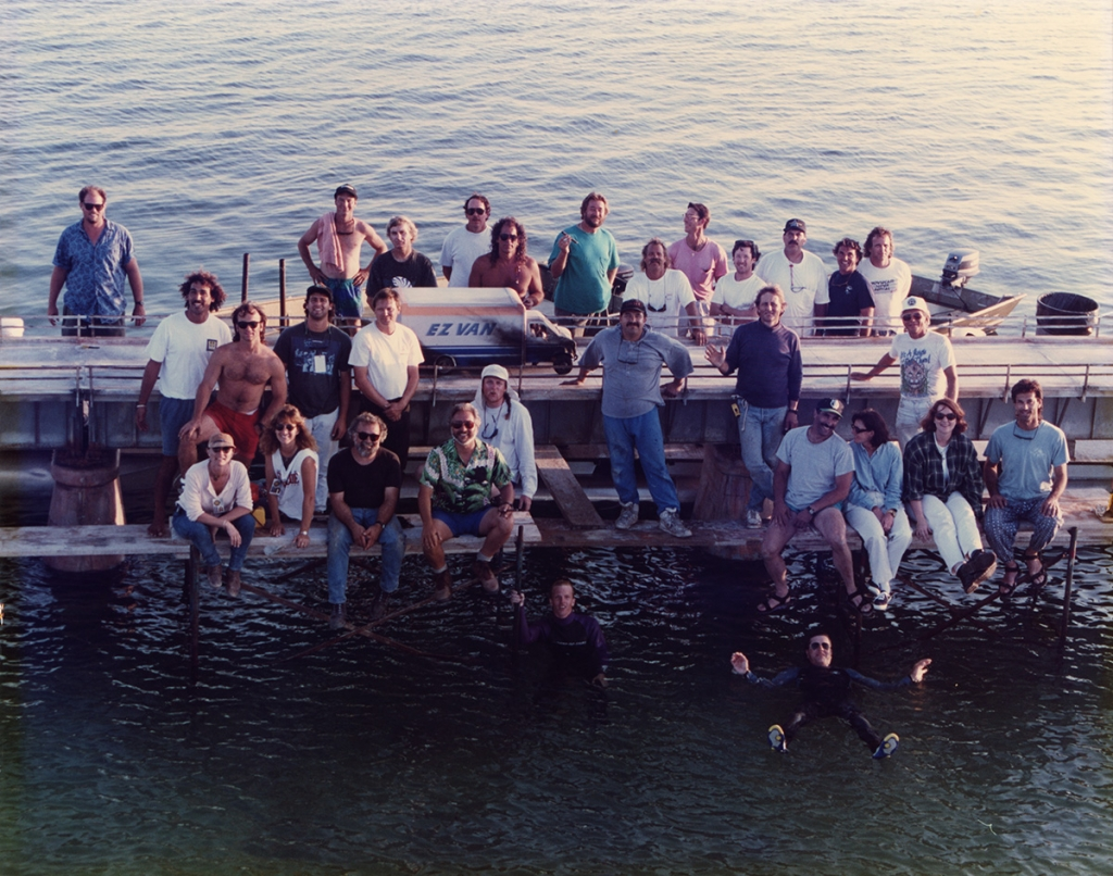 Crew photo for the causeway work. Leslie Ekker sits on the far right