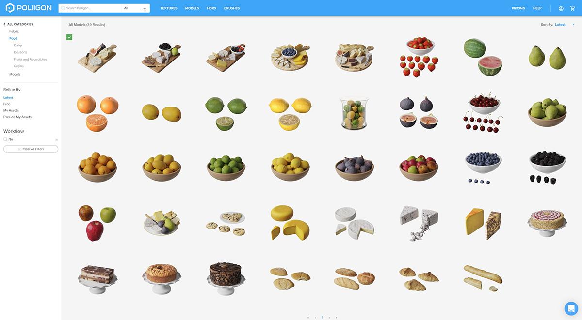 Poliigon food assets