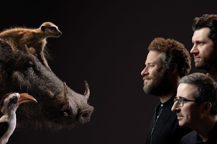 Actors playing Pumbaa, Timon and Zazu