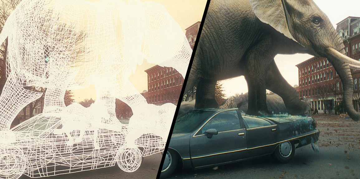 That time a CG elephant crushed a car