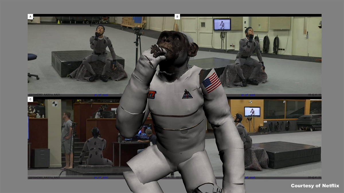Weta Digital's zero-G 'Space Force' chimp mocap included pushing an office chair around